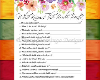 Bridal Shower Game, Who Knows The Bride Best, Floral Bridal Shower, Shabby Chic, Flowers, Watercolors, Printable, Instant Download - BDS4