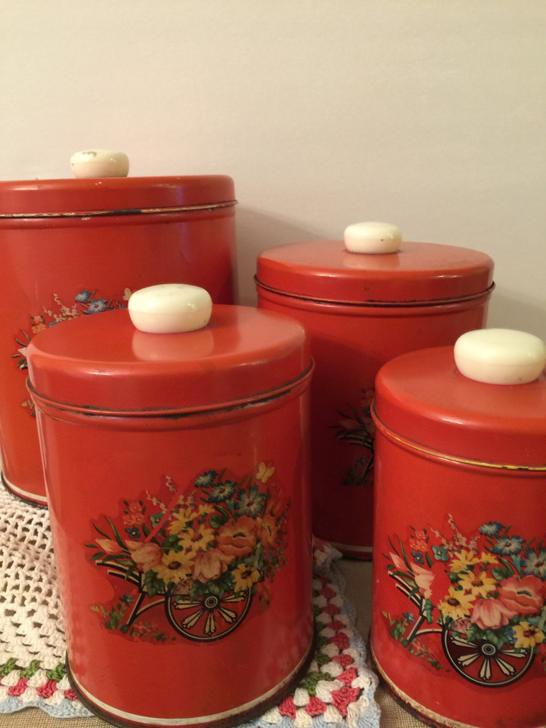 canister set metal red with floral decals set of 4 lids