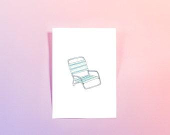 """Illustrated Beach Chair Print - 6x8"""""""