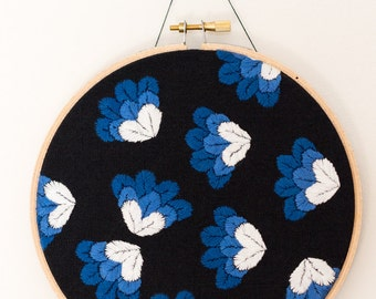 Blue gradient petals/feathers hand embroidery  - 6 inch hoop