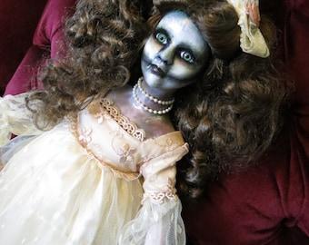 OOAK-Gothic-Zombie-Undead-Vampire-Creepy-Hand-Painted-Porcelain-Doll-Sinderella