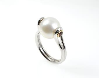 Pearl ring, sterling silver ring, garnet pearl ring, garnet ring, silver pearl ring, 9ct yellow gold, yellow gold settings