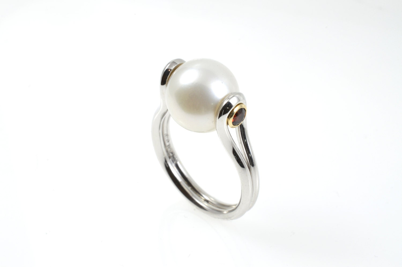 pearl ring sterling silver ring garnet pearl ring garnet