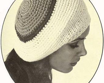 Slouchy Beret Tam Hat Cap Beanie Crochet Pattern PDF Instant Download Easy Single Crochet Size K Hook