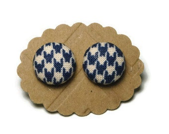 Navy blue houndstooth earrings, fabric button earrings, fabric earrings, small earrings, stud earrings, stainless steel, pretty earrings