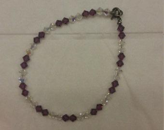 Swarovski Crystal Bracelet - Plum and Crystal