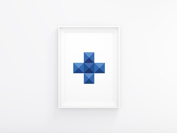 Swiss Cross Wall Art, Cross Print, Blue Swiss Cross,Plus Sign Printable, Scandinavian Print, Modern Printable Art, Geometric Art, Blue Cross