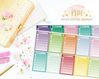 20 Cleaning Sidebar Stickers | Planner Stickers designed for use with the Erin Condren Life Planner | 1103