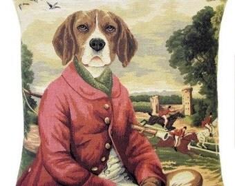 Beagle Pillow Cover - Beagle Cushion Cover - Beagle Gift - Beagle Throw Pillow - 18x18 belgian tapestry pillow cover - Beagle Foxhunter