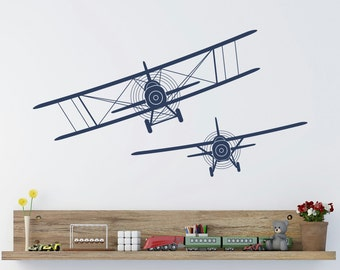 Biplane Wall Decals Stickers Airplane Plane Vinyl Decal Children Playroom Boys Kids Baby Room Airplane Nursery Wall Art Aviation Decor Q185