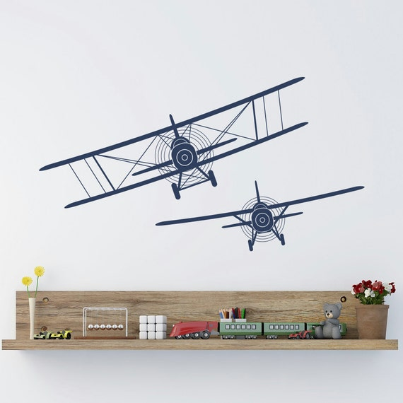 Biplane wall decals stickers airplane plane vinyl by for Aeroplane wall mural