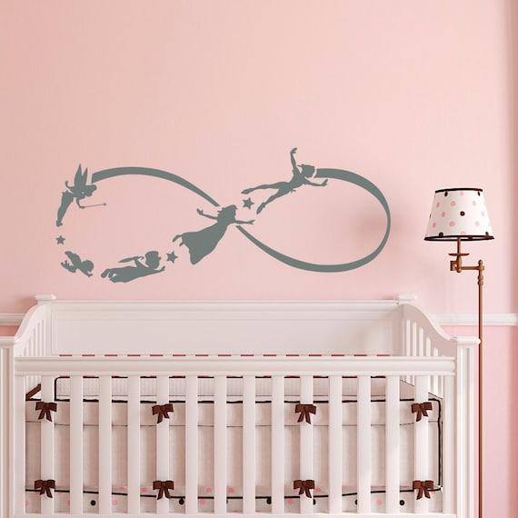 Peter Pan Infinity Wall Decal Children Flying Silhouette- Peter Pan Nursery Baby Bedding Kids Children Room Wall Art Home Decor Q053