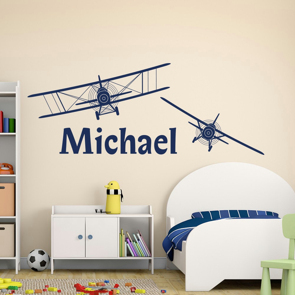 boy name wall decal personalized name decal sticker biplane. Black Bedroom Furniture Sets. Home Design Ideas