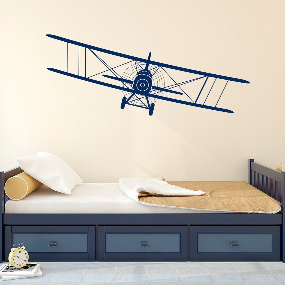 Biplane decal airplane wall decals plane stickers nursery for Aeroplane wall mural