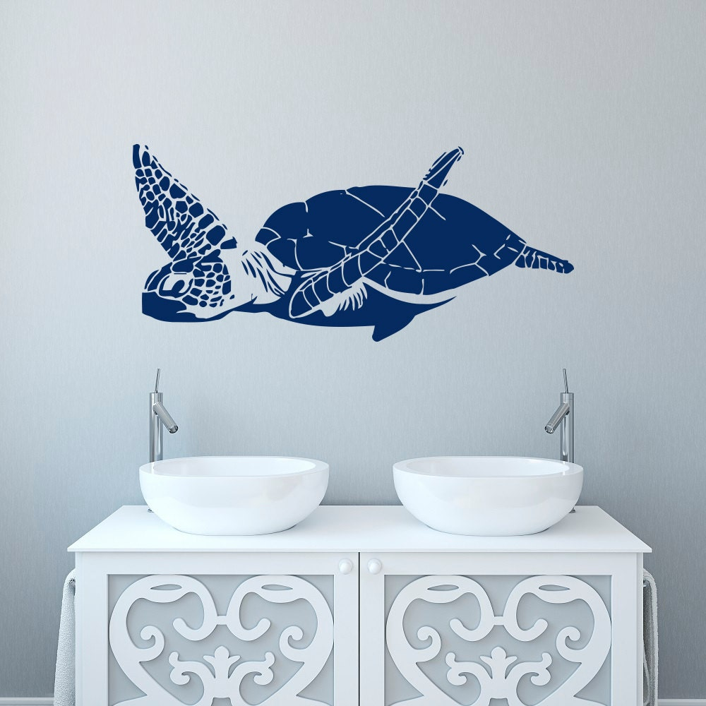 turtle wall decal sea turtle wall decal tortoise sea animals. Black Bedroom Furniture Sets. Home Design Ideas
