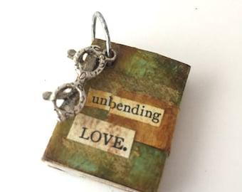 Mini Book Necklace - Book Jewelry - Girlfriend Jewelry Gift - Mini Book - Handmade Mini Book -Book Lovers Gift - Book Pendant Unbending Love