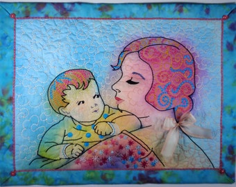 Original art quilt ~ Textile painting ~ Whimsical fabric art ~ Baby Gift ~ Mother Gift ~ MY HEART