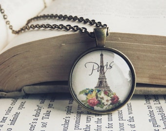 Floral Eiffel Tower Necklace