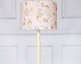 Nursery lampshade, pink lamp shade, children's bedroom, owl nursery, owl lampshade, owl home decor,  nursery, nursery lamps, new baby gift