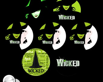 Wicked the Musical SET OF 7 Pinback Buttons or Magnets pins badges witches halloween broadway play elphaba glinda dorothy wizard of oz E23