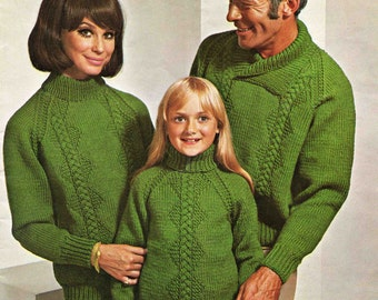 Family Sweater Knitting Pattern - 3 styles - 24 to 36 inches