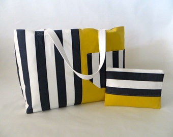 """Extra Large Two-toned Tote,  Beach Bag, Weekender, Matching Cosmetic Bag - """"Multi-use Tote"""""""