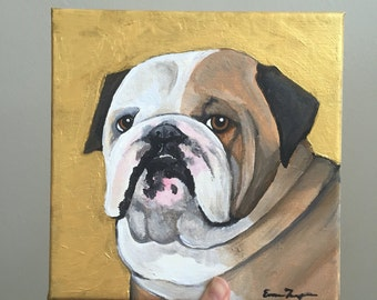 "Custom Acrylic Dog Portrait - 8x8"" Small Custom Dog Painting"