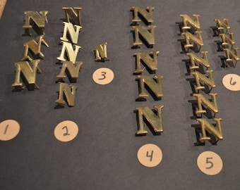 Vintage Solid Brass and Nickel Harness Letters - N