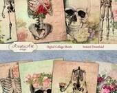 75% OFF SALE Floral Anatomy - Digital Collage Sheet Digital Cards C115 Printable Download Image Tags Digital Image Atc Cards ACEO Skeleton