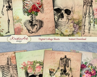 75% OFF SALE Floral Anatomy - Digital Collage Sheet Digital Cards C115 Printable Download Image Tags Digital Image Atc Cards ACEO Skeleton