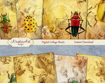 75% OFF SALE Insects - Digital Collage Sheet Digital Cards C116 Printable Download Image Insects Tags Digital Image Atc Cards ACEO Flora