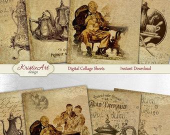 75% OFF SALE Vintage Tea Time - Digital Collage Sheet Digital Card C118 Printable Download Image Retro Tags Digital Image Tea Atc Cards ACEO