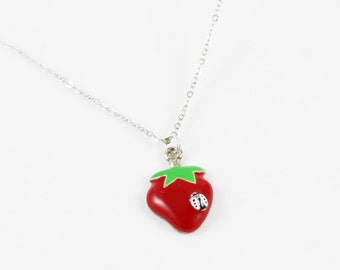 White Ladybird  Necklace Red Strawberry with Green Leaf Pendant Ladybug Jewellery