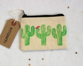 CACTUS ZIP POUCH | Hand Printed Handmade Coin Purse/Small Zip Pouch/Accessory