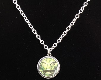 Creature from the Black Lagoon Resin Pendant Necklace, Silver color 18""