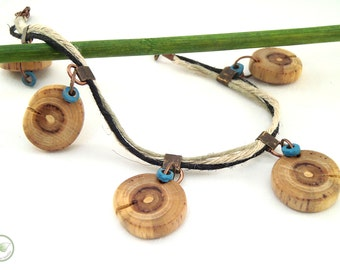 """Wooden anklet, """"Origin"""" collection, lilac and hemp cordons"""
