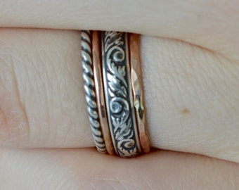 Stacking Rings of 14k Rose Gold Filled and Sterling Silver in Renaissance Style