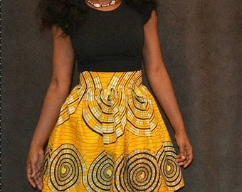 2 Left!!!! Yellow Circles Ankara African Print Skirt Mini