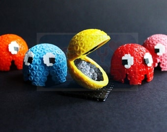 3D Pacman, Inky, Blinky, Pinky and Clyde, Hama Beads, Trinket