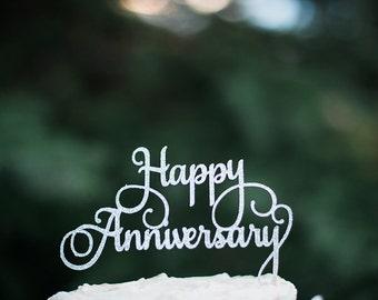 "Glitter ""Happy Anniversary"" Cake Topper - Anniversary Party Decor - Anniversary Cake Topper"