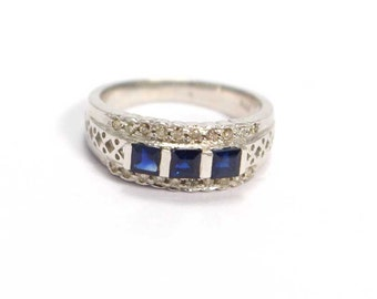 Sapphire Diamond  925 Sterling Silver Ring Blue Handmade Jewellery by AmoreIndia R493