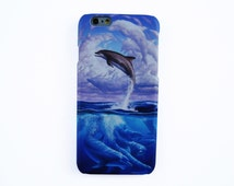 Art dolphin iPhone 6 case Dolphin iPhone case Blue dolphin iPhone SE case Dolphin Phone case Cute dolphin Phone case iPhone Animal case
