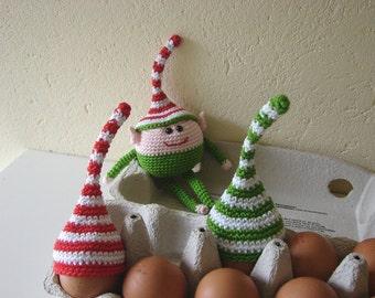 Egg cozies Christmas   Egg cozy Elf hat   striped Elf hat   crocheted Christmas decoration   Christmas egg warmer   egg hat   stocking gift
