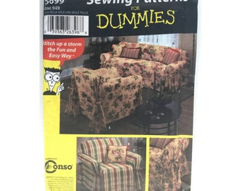 Simplicity 5699 Cover Ups  Easy Chair and Sofa Slip Covers and Pillows Sewing Patterns for Dummies UNCUT
