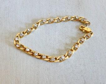 Rhinestone Bracelet, Link Bracelet, Gold Plated Bracelet, Gold Link Bracelet, Gold Plated Jewelry, Chain Bracelet, Rhinestone Jewelry