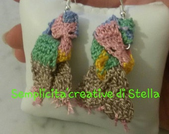 "Parure""scarf"" pendant and earrings crocheted"
