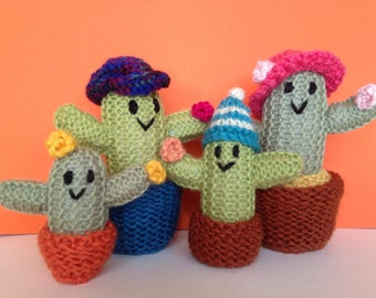 Cacti novelties. Knitted cacti ornaments.Knitted cacti toys.