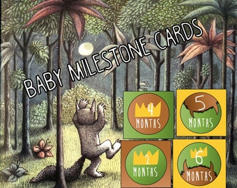 Where the Wild Things Are Baby Milestone Cards, Wild Things Monthly Photo Props, Wild Things Printable Cards, Baby Announcement Photo Props