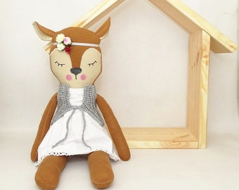 Deer soft toy with removable outfit. Unique toy & decoration. Softie baby gift, Plushie stuffed Toy for kids, Children's Day, soft baby toy