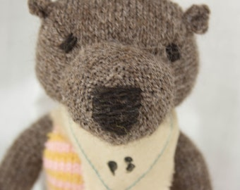 Brown Bear Knit Wool Doll